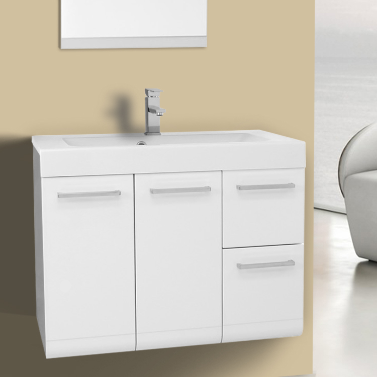 Bathroom Vanity 30 Inch Wall Mount Glossy White Bathroom Vanity Set Iotti MC01