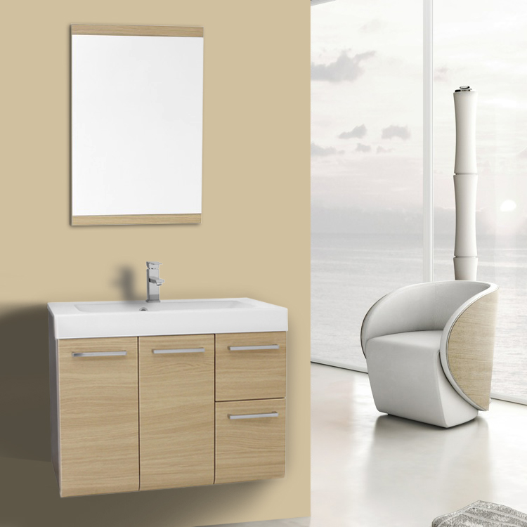 Bathroom Vanity 30 Inch Natural Oak Wall Mounted Vanity with Ceramic Sink, Mirror Included Iotti MC33