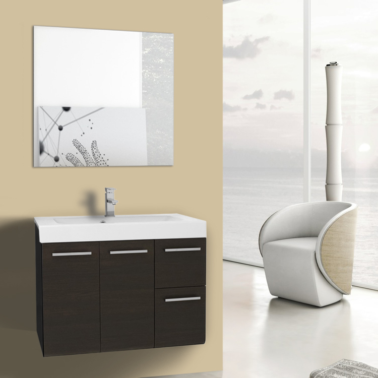 Bathroom Vanity 30 Inch Wenge Wall Mounted Vanity with Ceramic Sink, Mirror Included Iotti MC26