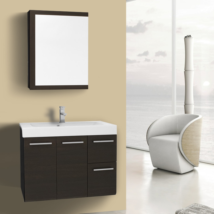 Bathroom Vanity 30 Inch Wenge Wall Mounted Vanity with Ceramic Sink, Medicine Cabinet Included Iotti MC38
