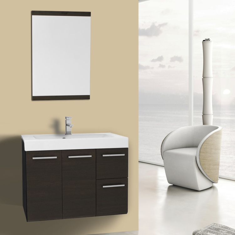 Bathroom Vanity 30 Inch Wenge Wall Mounted Vanity with Ceramic Sink, Mirror Included Iotti MC32