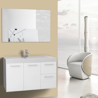 Bathroom Vanity 38 Inch Glossy White Wall Mounted Vanity with Ceramic Sink, Mirror Included Iotti MC28