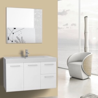 Bathroom Vanity 38 Inch Glossy White Wall Mounted Vanity with Ceramic Sink, Mirror Included Iotti MC133