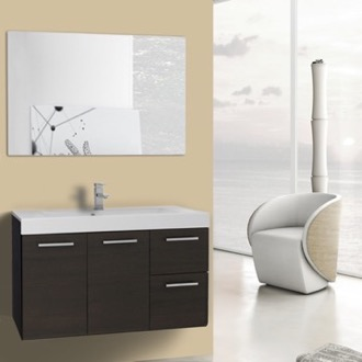 Bathroom Vanity 38 Inch Wenge Wall Mounted Vanity with Ceramic Sink, Mirror Included Iotti MC29