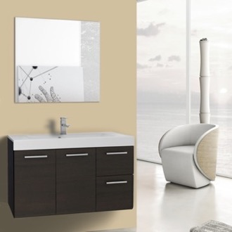 Bathroom Vanity 38 Inch Wenge Wall Mounted Vanity with Ceramic Sink, Mirror Included Iotti MC135
