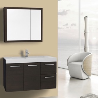 Bathroom Vanity 38 Inch Wenge Wall Mounted Vanity with Ceramic Sink, Medicine Cabinet Included Iotti MC41