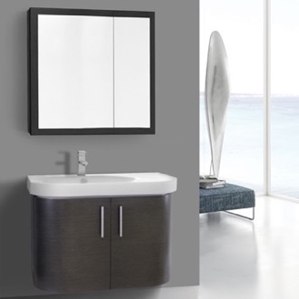 Bathroom Vanity 34 Inch Curved Grey Oak Wall Bathroom Vanity with Fitted Sink, 2 Doors, Medicine Cabinet Included Iotti RC26