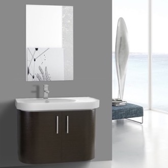 Bathroom Vanity 34 Inch Curved Wenge Wall Bathroom Vanity with Fitted Sink, 2 Doors, Mirror Included Iotti RC148