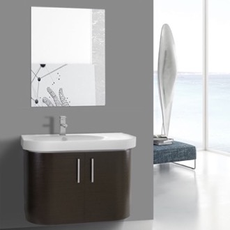 Bathroom Vanity 34 Inch Curved Wenge Wall Bathroom Vanity with Fitted Sink, 2 Doors, Mirror Included Iotti RC31