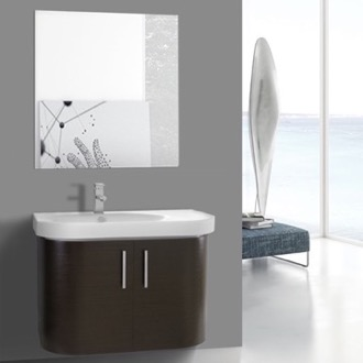Bathroom Vanity 34 Inch Curved Wenge Wall Bathroom Vanity with Fitted Sink, 2 Doors, Mirror Included Iotti RC149
