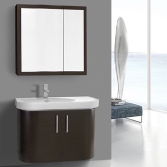 Bathroom Vanity 34 Inch Curved Wenge Wall Bathroom Vanity with Fitted Sink, 2 Doors, Medicine Cabinet Included Iotti RC25