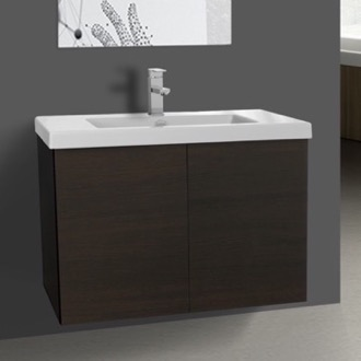 Bathroom Vanity 31 Inch Wenge Vanity Cabinet with Self Rimming Sink Iotti SE02C-Wenge