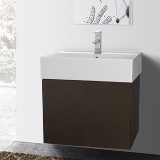 Bathroom Vanity 23 Inch Wenge Bathroom Vanity with Ceramic Sink Iotti SM08