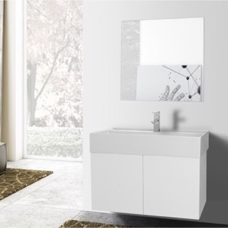 Bathroom Vanity 31 Inch Glossy White Bathroom Vanity with Ceramic Sink, Mirror Included Iotti SM67