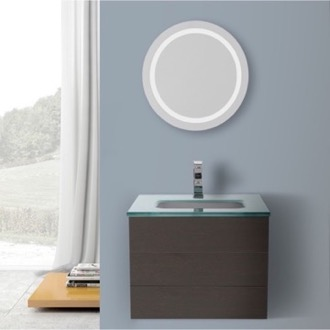 Bathroom Vanity 24 Inch Wenge Bathroom Vanity, Wall Mounted, Lighted Mirror Included Iotti TN2986