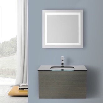 Bathroom Vanity 32 Inch Grey Oak Bathroom Vanity, Wall Mounted, Lighted Mirror Included Iotti TN3072