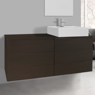 Bathroom Vanity 47 Inch Wenge Vessel Sink Bathroom Vanity, Wall Mounted Iotti TN170