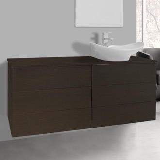 Bathroom Vanity 47 Inch Wenge Vessel Sink Bathroom Vanity, Wall Mounted Iotti TN174