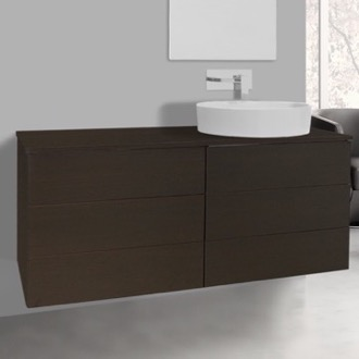 Bathroom Vanity 47 Inch Wenge Vessel Sink Bathroom Vanity, Wall Mounted Iotti TN178