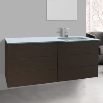 Bathroom Vanity 47 Inch Wenge Bathroom Vanity with White Glass Top, Wall Mounted Iotti TN183