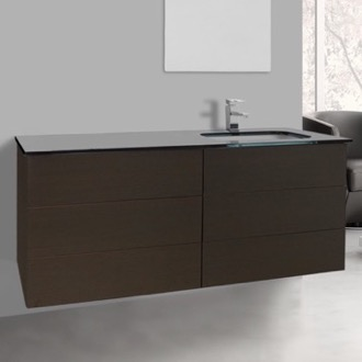 Bathroom Vanity 47 Inch Wenge Bathroom Vanity with Black Glass Top, Wall Mounted Iotti TN184