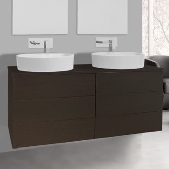 Bathroom Vanity 47 Inch Wenge Double Vessel Sink Bathroom Vanity, Wall Mounted Iotti TN338