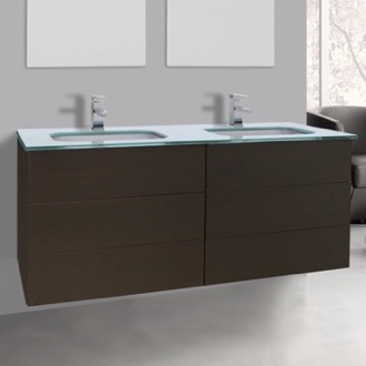 Bathroom Vanity 47 Inch Wenge Double Vanity with White Glass Top, Wall Mounted Iotti TN343