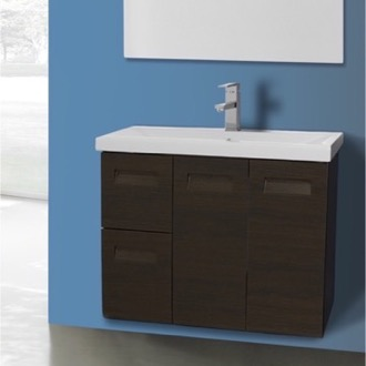Bathroom Vanity 2 Doors, 2 Drawer Vanity Cabinet with Self Rimming Sink Iotti NG2C-Wenge