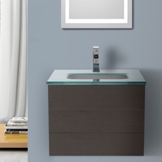 Bathroom Vanity 24 Inch Wenge Bathroom Vanity with White Glass Top, Wall Mounted Iotti TN23