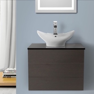 Bathroom Vanity 24 Inch Wenge Vessel Sink Bathroom Vanity, Wall Mounted Iotti TN14