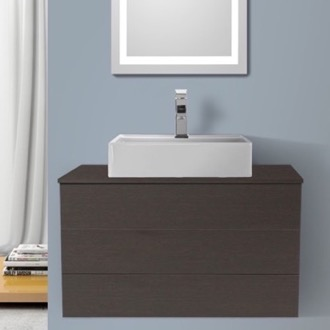 Bathroom Vanity 32 Inch Wenge Vessel Sink Bathroom Vanity, Wall Mounted Iotti TN90