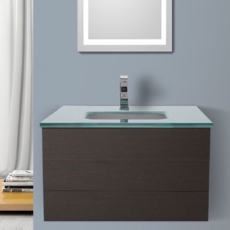 Bathroom Vanity 32 Inch Wenge Bathroom Vanity with White Glass Top, Wall Mounted Iotti TN103
