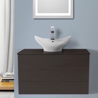 Bathroom Vanity 32 Inch Wenge Vessel Sink Bathroom Vanity, Wall Mounted Iotti TN94