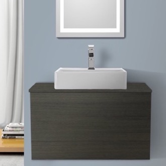 Bathroom Vanity 32 Inch Grey Oak Vessel Sink Bathroom Vanity, Wall Mounted Iotti TN91