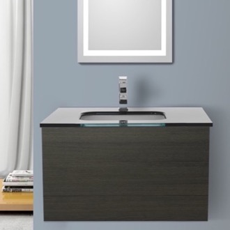 Bathroom Vanity 32 Inch Grey Oak Bathroom Vanity with Black Glass Top, Wall Mounted Iotti TN106