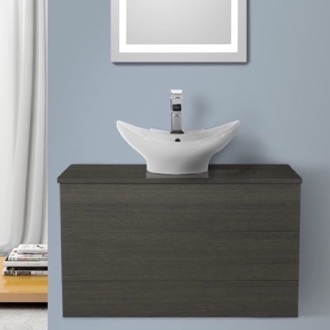 Bathroom Vanity 32 Inch Grey Oak Vessel Sink Bathroom Vanity, Wall Mounted Iotti TN95
