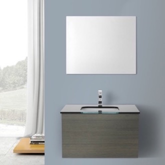 Bathroom Vanity 32 Inch Grey Oak Bathroom Vanity with Black Glass Top, Wall Mounted, Mirror Included Iotti TN1179