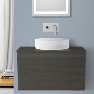 Bathroom Vanity 32 Inch Grey Oak Vessel Sink Bathroom Vanity, Wall Mounted Iotti TN99