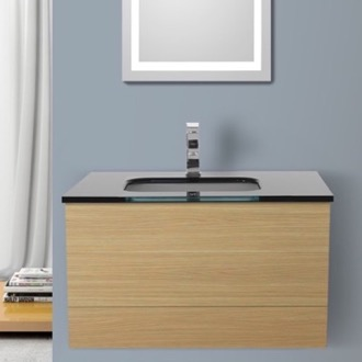 Bathroom Vanity 32 Inch Natural Oak Bathroom Vanity with Black Glass Top, Wall Mounted Iotti TN108