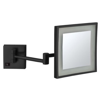 Makeup Mirror Matte Black Square Wall Mounted LED 5x Magnifying Mirror, Hardwired Nameeks AR7701-BLK-5x