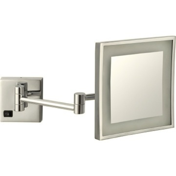 Makeup Mirror Satin Nickel Square Wall Mounted LED 5x Magnifying Mirror, Hardwired Nameeks AR7701-SNI-5x