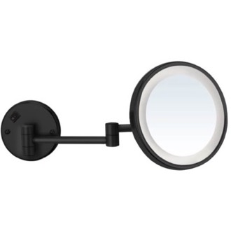 Makeup Mirror Matte Black Wall Mounted 7x Magnifying Mirror with LED, Hardwired Nameeks AR7703-BLK-7x