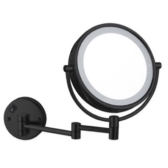 Makeup Mirror Matte Black Double Face LED 5x Magnifying Mirror, Hardwired Nameeks AR7705-BLK-5x
