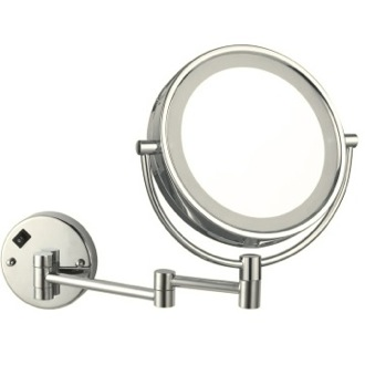 Makeup Mirror Satin Nickel Double Face Round LED 3x Magnifying Mirror, Hardwired Nameeks AR7705-SNI-3x