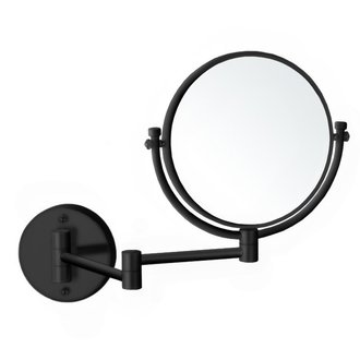 Makeup Mirror Matte Black Double Sided Wall Mounted 5x Makeup Mirror Nameeks AR7707-BLK-5x