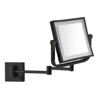 Makeup Mirror Matte Black Double Face LED 5x Magnifying Mirror, Hardwired Nameeks AR7730-BLK-5x