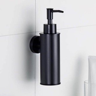 Soap Dispenser Wall Mounted Round Matte Black Soap Dispenser Nameeks NCB87