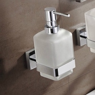 Soap Dispenser Wall Mount Frosted Glass Soap Dispenser With Chrome Mounting Nameeks NNBL0073