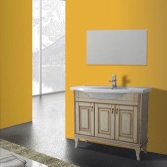 Bathroom Vanity 40 Inch Vanilla Floor Standing Bathroom Vanity Set, Vanity Mirror Included Nameeks BT-F03