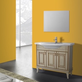 Bathroom Vanity 40 Inch Vanilla Floor Standing Bathroom Vanity Set, Vanity Mirror Included Nameeks BT-F05